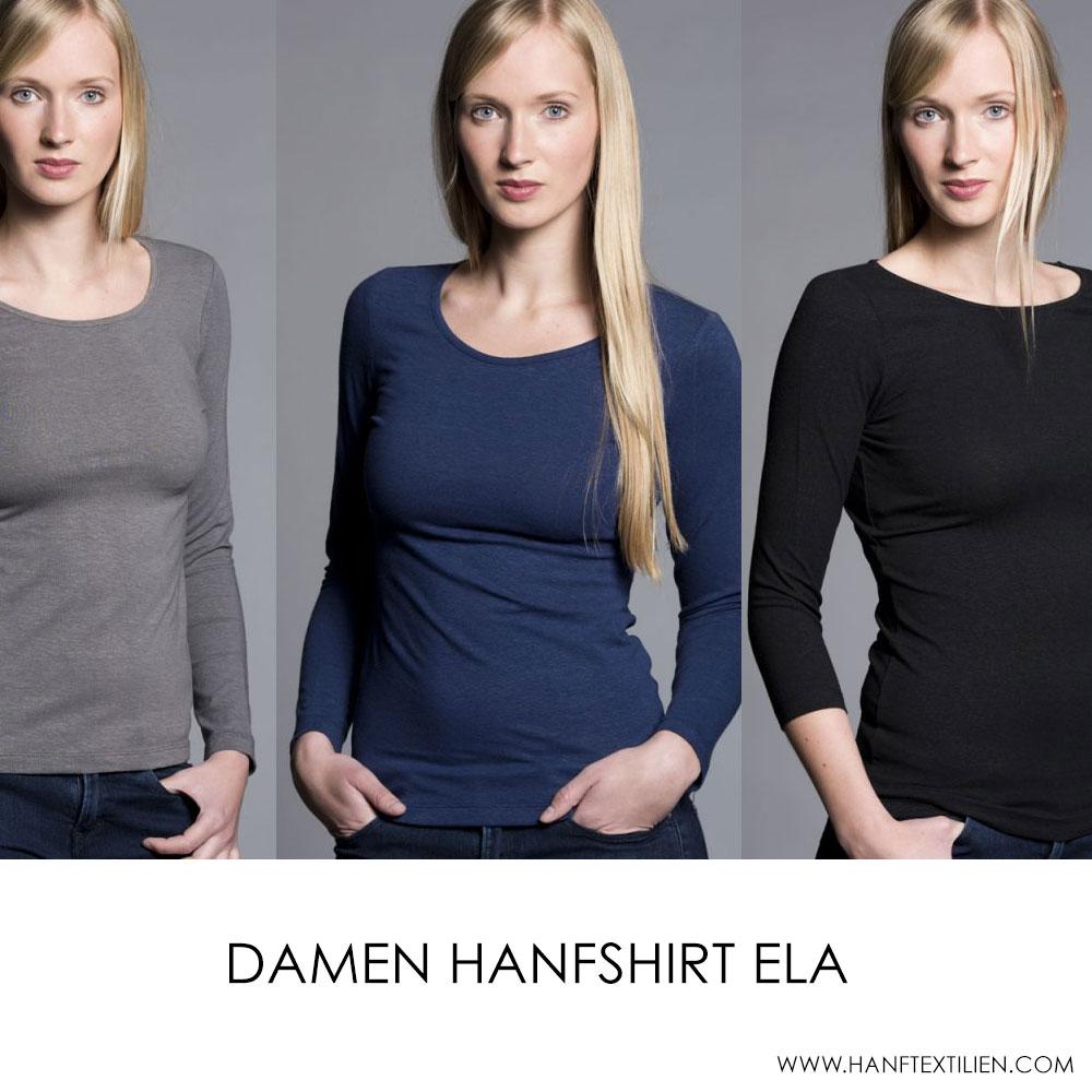 Hanfbekleidung für Damen das Hanfshirt (Slim) Ela